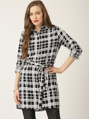 QUIZ Black & White Polyester Checked Tunic Shirt