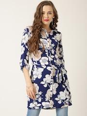 QUIZ Navy Polyester Floral Print Tunic Shirt