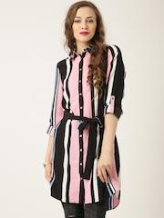 QUIZ Black Polyester Striped Belted Longline Shirt
