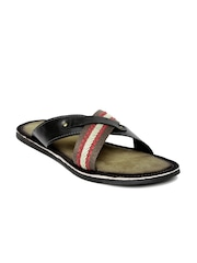 Tortoise Men Black & Olive Green Leather Sandals