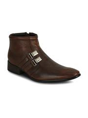 Kielz Men Brown Leather Semiformal Shoes