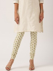 All About You from Deepika Padukone Off-White Cotton Knitted Churidar with Khadi detail