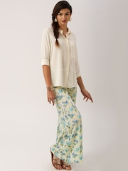 All About You from Deepika Padukone Beige & Blue Crepe Floral Print Palazzos