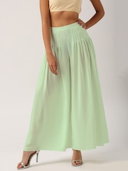 All About You from Deepika Padukone Mint Green Jacquard Cotton Flared Palazzo Trousers