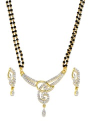 Sukkhi Gold-Plated & Black Mangalsultra & Earrings Set