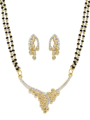 Sukkhi Gold & Rhodium-Plated Mangalsutra & Earrings Set