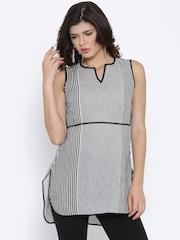 Aurelia Grey Woven Design Kurta