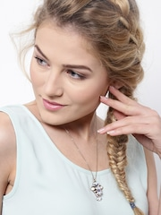 Lyla Loves Gold-Toned Stone-Studded Pendant with Chain