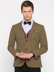 INVICTUS Brown Slim Fit Single-Breasted Blazer