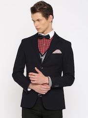 INVICTUS Navy Slim Fit Single-Breasted Formal Blazer