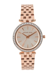 Michael Kors Women Rose Gold-Toned Stoned-Studded Dial Watch MK3366