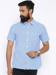 Indian Terrain Blue & White Checked Slim Casual Shirt