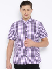 Indian Terrain Purple Checked Slim Casual Shirt