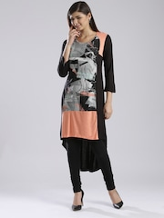 W Black & Grey Graffiti Print High-Low Kurta