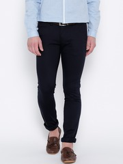 Wills Lifestyle Navy Skinny Casual Trousers