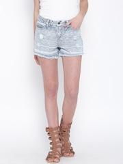 Vero Moda Blue Printed Washed Denim Shorts
