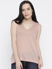Vero Moda Women Peach-Coloured Solid Tank Top