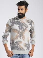 GAS Grey Melange Tropical Print Slim Sweatshirt