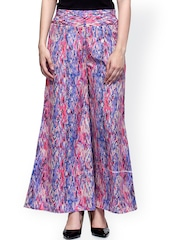 Laabha Multicoloured Printed Smart Fit Palazzo Trousers