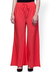 Laabha Red Smart Fit Palazzo Trousers