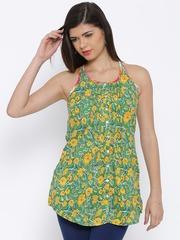 BIBA Green & Yellow Floral Print A-Line Tunic