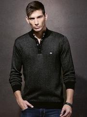 Roadster Men Black Self-design Sweater