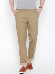 John Players Beige Low-Rise Slim Casual Trousers