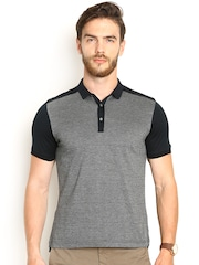 Blackberrys Black Printed Slim Fit Polo T-shirt