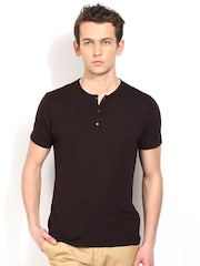 Blackberrys Black Skinny Fit Henley T-shirt