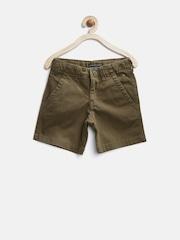 Gini & Jony Boys Olive Brown Preppy Fit Shorts