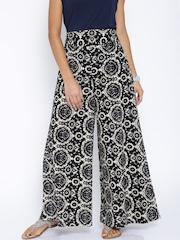Desi Weaves Black & Beige Printed Palazzo Trousers
