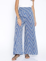 Desi Weaves Blue Printed Palazzo Trousers