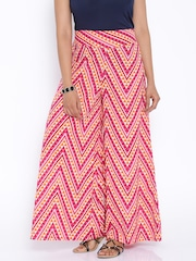 Desi Weaves Pink & Orange Printed Palazzo Trousers