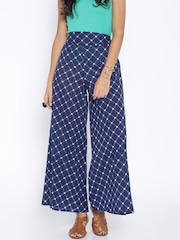 Desi Weaves Navy Checked Palazzo Trousers