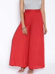 Desi Weaves Red Palazzo Trousers