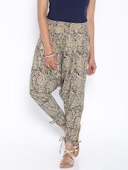 Desi Weaves Beige Printed Jodhpuri Trousers