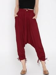 Desi Weaves Women Maroon Jodhpuri Trousers