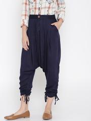 Desi Weaves Women Navy Blue Solid Jodhpuri Trousers