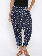 Desi Weaves Women Navy Printed Jodhpuri Trousers