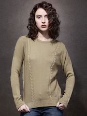Roadster Women Beige Solid Sweater