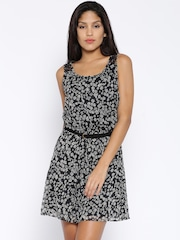 ONLY Black & White Floral Print A-Line Dress