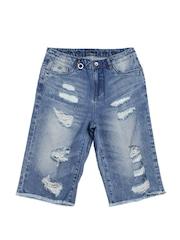 ONLY Women Blue Distressed Denim Shorts