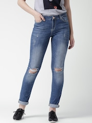 Silvian Heach Blue Distressed Diana Fit Jeans