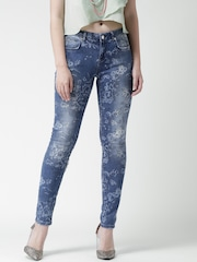 Silvian Heach Blue Washed Floral Print Jeans