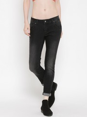 Silvian Heach Women Black Mid-Rise Washed Jeans