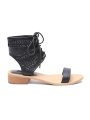FOREVER 21 Women Black Lace-Up Block Heels