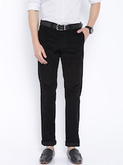 Indian Terrain Black Brooklyn Slim Fit Corduroy Trousers