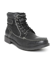 Alberto Torresi Men Black Leather Boots