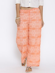 BIBA Orange & White Polyester Printed Palazzo Trousers