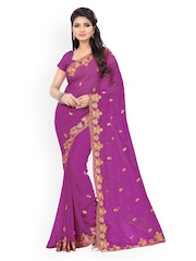 Saree Swarg Purple Embroidered Faux Georgette Embellished Saree